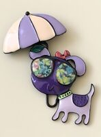 Adorable Dog  with umbrella large  Pin Brooch in enamel on Metal