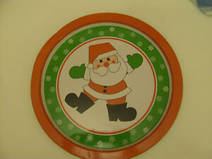 Vintage Made in Hong Kong Round Metal Tray with Father Xmas & Snowflake Design