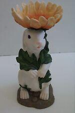 Super Cute Decorative Bunny w/Box Wrapped in Yellow Flower Rabbit Figurine #S52