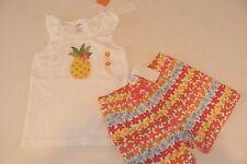Gymboree Aloha Sunshine Girls Size 4 Top Shirt Shorts Pineapple Floral Nwt New