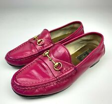 GUCCI Horsebit Pink Patent Leather Moccasin Loafers Size 37 Womens Comfort Shoes