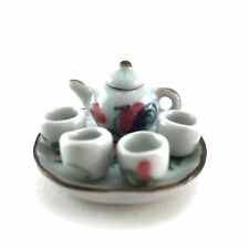 MINIATURE TEAPOT SET TINY DOLLHOUSE SERVING UTENSIL KITCHENWARE CERAMIC 5 NEW