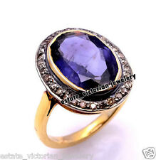 Victorian 0.68Cts Rose Cut Diamond Jewelry Sapphire Studded Silver Stunning Ring