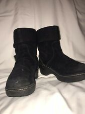 Crocs Black Suede Ankle Boot Size 3.5