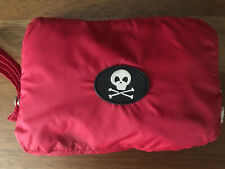 Fab Dog Packable Red Rain Jacket For Dogs Size Small with Skull And Crossbones