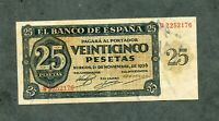 BILLETE 25 PESETAS 1936 SERIE S 2252176    SC -