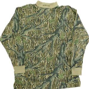 Vintage MOSSY OAK Mock Neck L/S T-Shirt TREESTAND Camo MADE IN USA Men's XXL