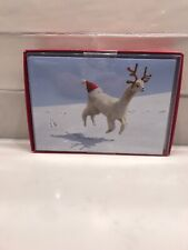 Alpaca Reindeer Box of 14 Funny  Humorous Avanti Christmas Cards