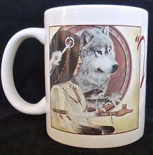 Leanin' Tree Mug Art of Nancy Wood Taber Wolf Song MGW216 1991 12 oz