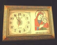 Christian wall clock / wood mosaic frame / Home decorative