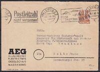 SBZ BZH 174 V Leipzig EF AEG Firmen Brief mit MAS - Halle, geprüft Dr. Modry BPP