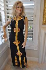 Unique Vintage EMPRESS 70s Maxi Hostess Party Dress fancy ribbon trim