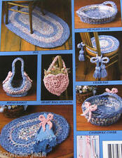 Rag rug crochet pattern: use yarn or fabric for rugs placemats chairpads baskets