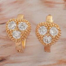 Heart 3 Zircon Cz Hoop Earrings. Splendid 9K Rose Gold Filled Gf