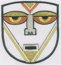Gold African Tribal Face Mask Embroidery Patch
