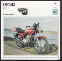 1972 Kawasaki 350cc S2 (346cc) Japan Bike Motorcycle Photo Spec Info Stat Card