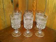 """Wexford Anchor Hocking Crystal Glass Footed Goblet Glasses 6 Pc Lot 6 5/8"""" tall"""