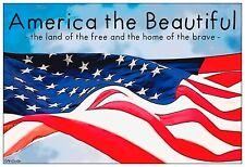 "13""×19"" Inspirational Poster: AMERICAN THE BEAUTIFUL Flag USA Patriotic Art"