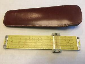 VINTAGE PICKETT  N600-ES Log Log Speed Slide Rule + Leather Case (Hooked Braces)