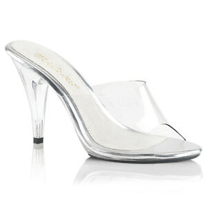 Fabulicious CARESS-401 Shoes Clear Slide Slip On Opne Toe High Heel Sandals
