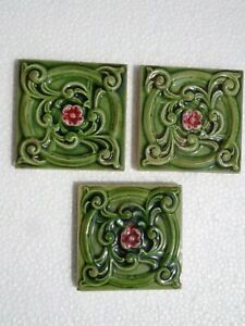 Old vintage rare Art Nouveau Majolica Ceramic Tiles Made In England 3 Pc 3x3 Inc