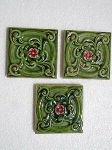 Old vintage rare Art Nouveau Majolica Ceramic Tiles Made In England 3 Pc 3x3 Inc