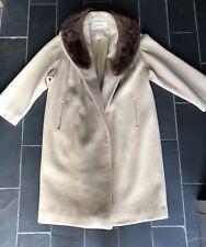 Vintage Lilli Ann Paris Swing Coat Camel Tan Wool Fur Collar