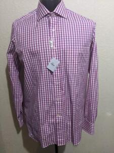 $185 NWT ARNAU Spain White w/ Purple Check Cotton Dress/Casual Shirt    MEDIUM