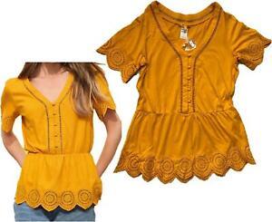 NEXT Summer Ochre Yellow Broderie Sleeve Button Top Blouse Tunic 8- 24 CLEARANCE