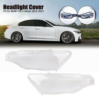 Pair Plastic Replacement Headlight Lens Lampshade Cover For BMW F30 2013-2016