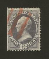 US Stamps Scott # 162 12c Clay 1870-71 Red Cancel