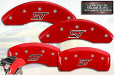 """2014-2017 Ford Fiesta """"ST"""" Front + Rear Red Bolts MGP Brake Disc Caliper Covers"""