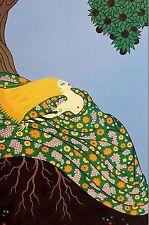 Erte 1987 Four Elements EARTH - YELLOW WHEAT HAIR FLOWERS TREES Art Deco Print