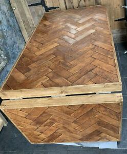 Reclaimed English Oak Herringbone kitchen Table With Dropleaf