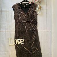 Per Una Size 16 brown black devore velour velvet long maxi party occasion dress