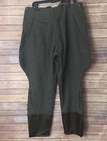 Green Wool Jodhpurs Breeches Riding Pants Satin Lace Up Bottom Leg Strap Suspend