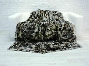 Grey Black Lambskin Throw Real TOSCANA FUR PATCHWORK Blanket Sofa Bed Cover BT12