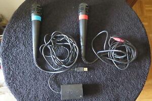 MICROFONI Singstar PS2 e PS3 con convertitore USB ! Microfono + adattatore !