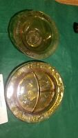 2 Vintage Tiara Mother Goose Nursery Rhyme Amber Gold Glass Plate and bowl
