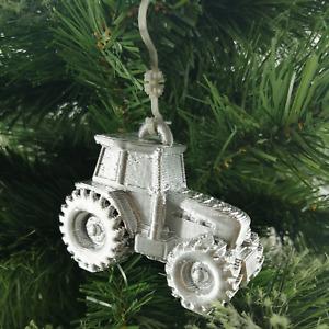 Tractor Silver Christmas Xmas Tree Decoration Bauble (Rare)