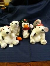 Lot/Set 5 Coca Cola Beanbag Plush White Polar Bear Seal. penguin