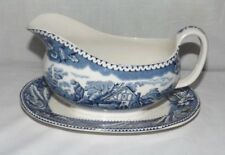 Wood & Sons Blue and White WOODLAND GRAVY BOAT w/ Attached Underplate (England)