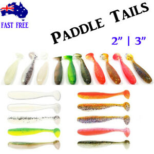 """3"""" Paddle Tail Shiner Soft Plastics T Tail Grubs Worm Bream Bass Fishing Lures"""