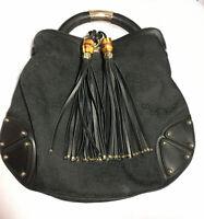 Gucci GG Canvas Hobo Black Shoulder Leather Indy Top Handle Bag 185566