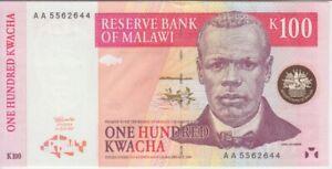 """Malawi banknote P40  100 Kwacha 1997 AA Prefix, A/U,   """"WE COMBINE"""""""