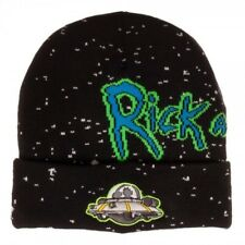 OFFICIAL RICK AND MORTY - SPACESHIP GALAXY BLACK CUFF BEANIE HAT (NEW)