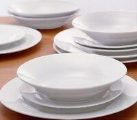 Plain White Dinner Plates Set 12 Piece Bowls Porcelain Crockery Tableware Bowl
