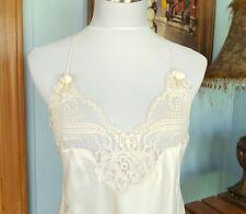 VTG Christian Dior Full Length Gown Boudoir Ivory Rosetttes Lace Inset LARGE