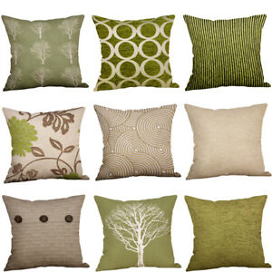 """Green Lime Natural Cream Cushion Covers 18""""x18"""" (45cm x 45cm) Cover Collection"""