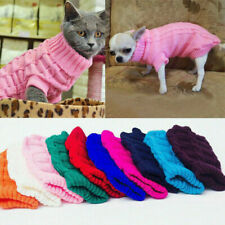 Solid Warm Dog Knit Sweater Pet Clothes Winter Small Large Dog Chihuahua Coat US